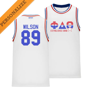New! Phi Delt Personalized Retro Block Basketball Jersey