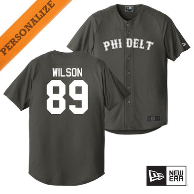 Phi Delt Personalized New Era Graphite Baseball Jersey