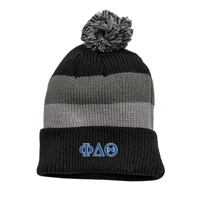 Phi Delt Black & Gray Striped Knit Beanie with Removable Pom