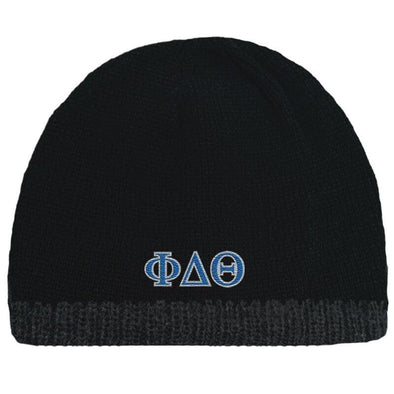 Sale! Phi Delt Black Knit Beanie with Fleece Lining