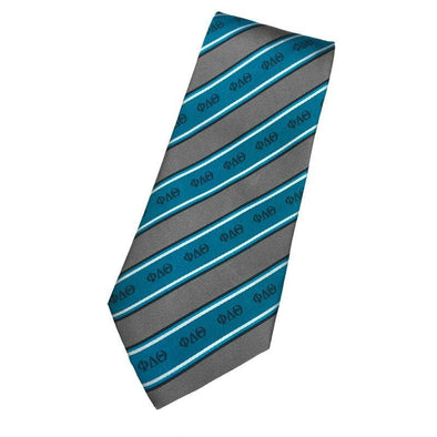 Sale! Phi Delt Blue and Gray Striped Silk Tie