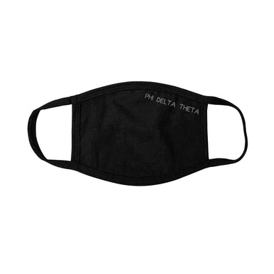New! Phi Delt Black Adjustable Face Mask
