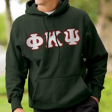 Phi Psi Forest Hoodie with Sewn On Letters