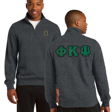 Clearance! Phi Psi Heather Charcoal 1/4 Zip Sweatshirt with Sewn On Letters