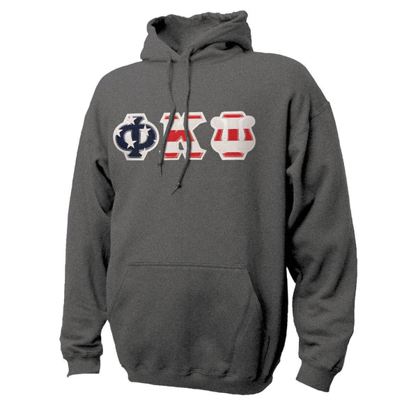 Phi Psi Stars & Stripes Sewn On Letter Hoodie