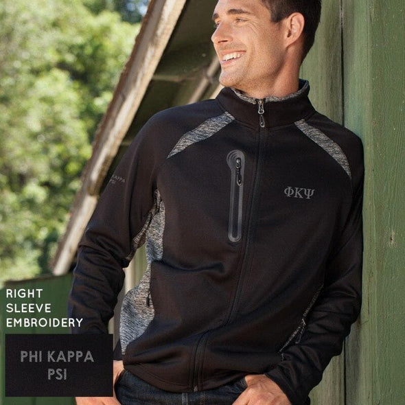 Clearance Priced! Phi Psi Black & Heather Gray Performance Full Zip