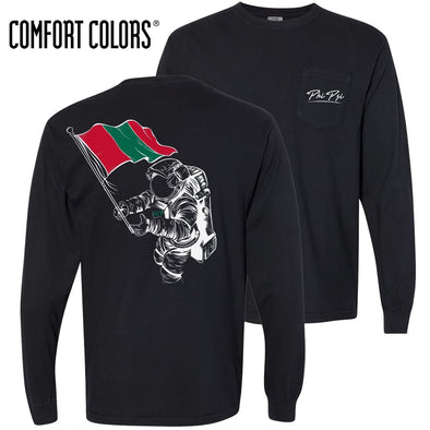 Phi Psi Comfort Colors Black Astronaut Long Sleeve Pocket Tee