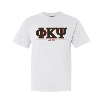 Phi Psi White Comfort Colors Greek Letter Tee