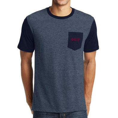 Clearance! Phi Psi Heather Navy Contrast Pocket Tee