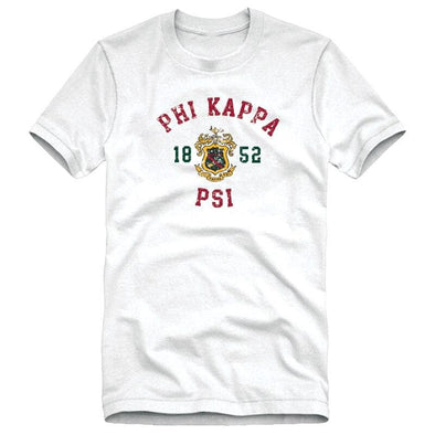 Phi Psi White Distressed Crest Tee