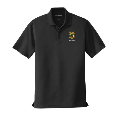 New! Personalized Phi Psi Crest Black Performance Polo