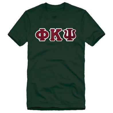 Phi Psi Green Sim Stitch Letter Tee