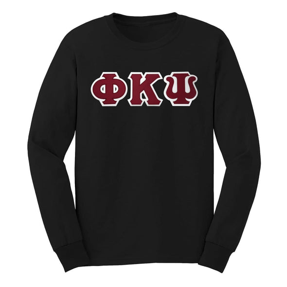 Phi Psi Black Sim Stitch Letter Long Sleeve Tee