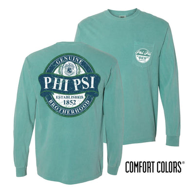 Phi Psi Faded Green Comfort Colors Long Sleeve Pocket Tee