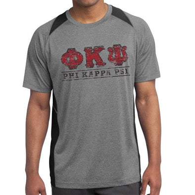 Clearance! Phi Psi Gray & Black Performance Short Sleeve Tee
