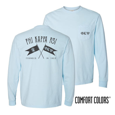 Phi Psi Light Blue Comfort Colors Long Sleeve Pocket Tee