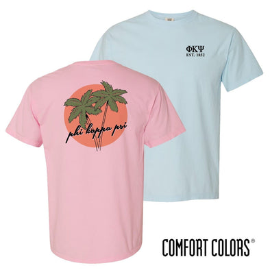 New! Phi Psi Comfort Colors Palm Trees Tee