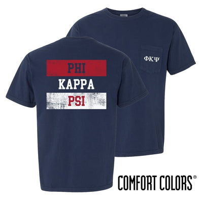New! Phi Psi Comfort Colors Red White and Navy Short Sleeve Tee