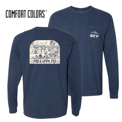 New! Phi Psi Comfort Colors Long Sleeve Navy Desert Tee