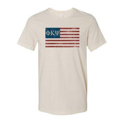 New! Phi Psi Natural Retro Flag Tee