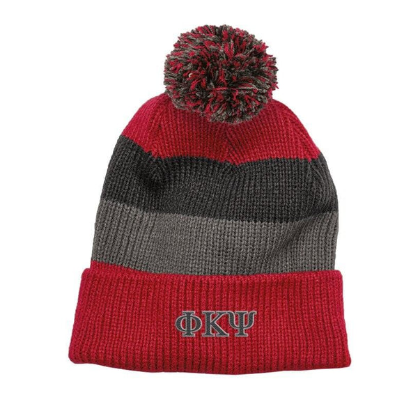 Phi Psi Red & Gray Striped Knit Beanie with Removable Pom