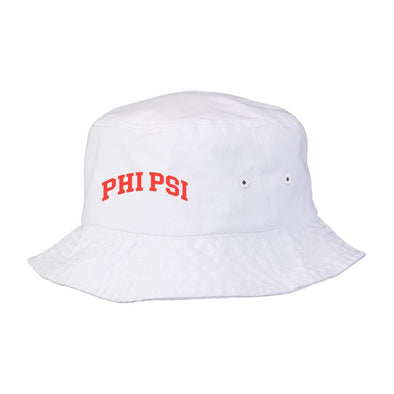 New! Phi Psi Title White Bucket Hat