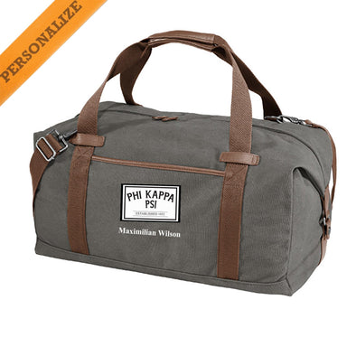 New! Phi Psi Personalized Gray Canvas Duffel