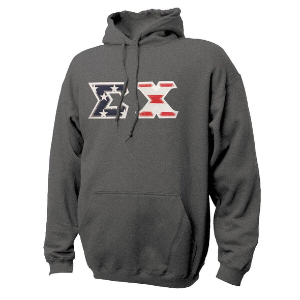 Sigma Chi Stars & Stripes Sewn On Letter Hoodie