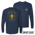 Sigma Chi Comfort Colors Navy Badge Long Sleeve Pocket Tee