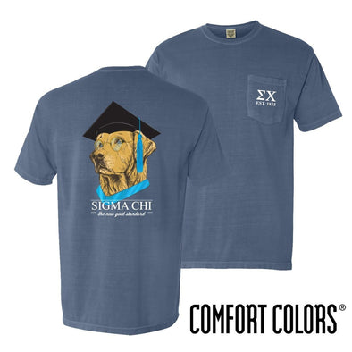New! Sigma Chi Comfort Colors Retriever Grad Tee