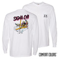 New! Sigma Chi Comfort Colors White Long Sleeve Ski-leton Tee