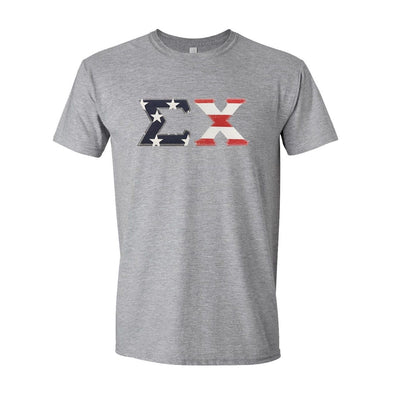 Sigma Chi Stars & Stripes Sewn On Letter Tee