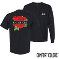 New! Sigma Chi Comfort Colors Black Rose Pocket Tee