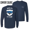 Sigma Chi Comfort Colors Navy Let's Ride Long Sleeve Pocket Tee