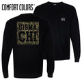 Clearance!  Sigma Chi Comfort Colors Black Camo Long Sleeve Pocket Tee