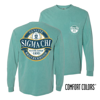 Sigma Chi Faded Green Comfort Colors Long Sleeve Pocket Tee