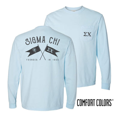 Sigma Chi Light Blue Comfort Colors Long Sleeve Pocket Tee