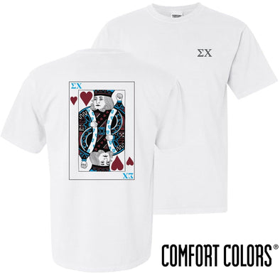 New! Sigma Chi Comfort Colors White King of Hearts Short Sleeve Tee