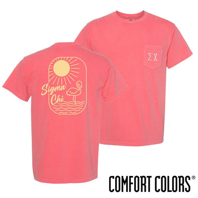 New! Sigma Chi Comfort Colors Tropical Flamingo Short Sleeve Tee