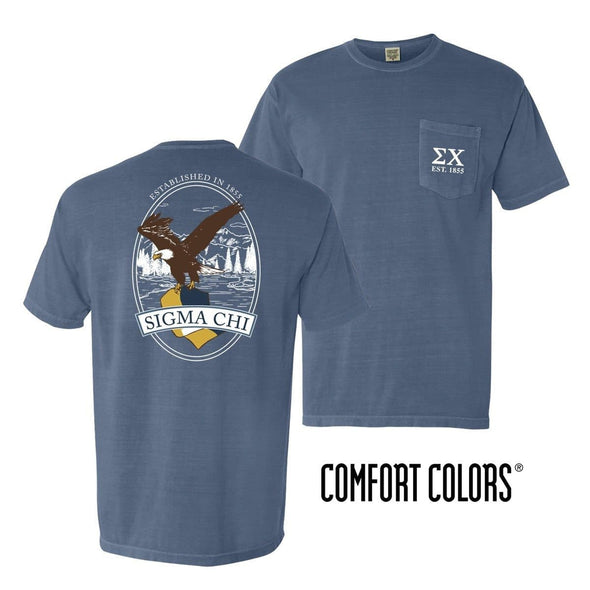 Sigma Chi Comfort Colors Blue Jean Eagle Tee