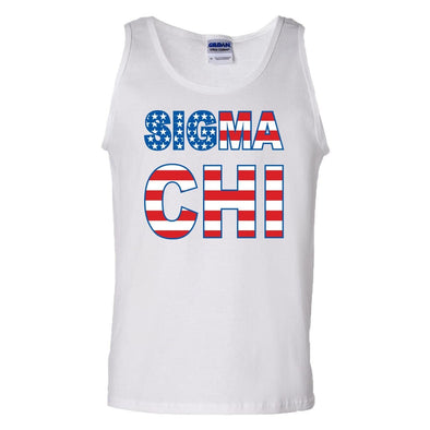 Sigma Chi White USA Tank Top