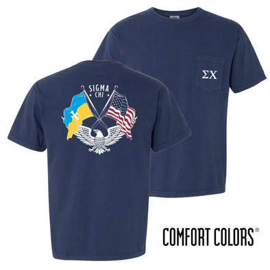 New! Sigma Chi Comfort Colors Short Sleeve Navy Patriot tee