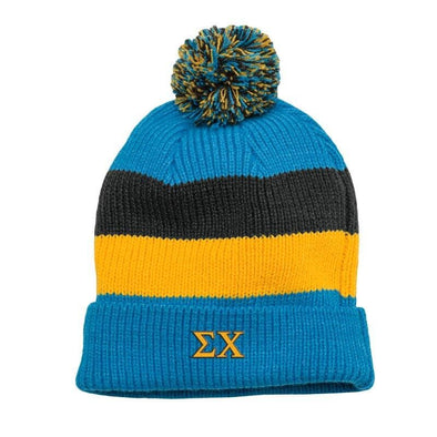 Sigma Chi Blue & Gray Striped Knit Beanie with Removable Pom