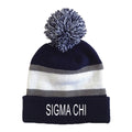 Sigma Chi Striped Pom Beanie