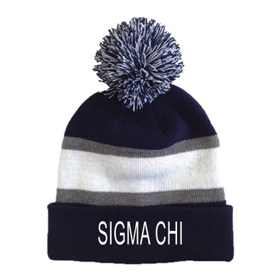 New! Sigma Chi Striped Pom Beanie