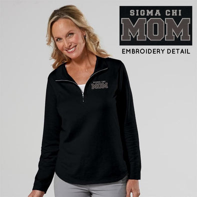 Clearance! Sigma Chi Ladies Black 1/4 Zip Mom Pullover
