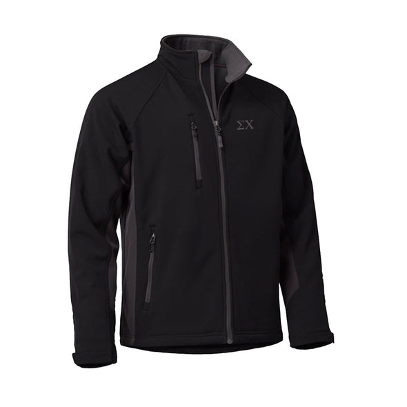 Clearance! Sigma Chi Black and Gray Soft Shell Jacket