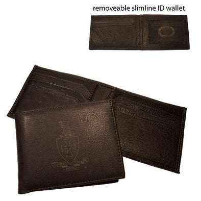 Sale! Sigma Chi Brown Leather Crest Bi-Fold Wallet