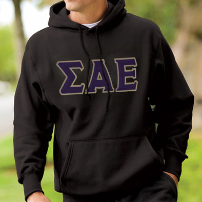 Sale!  SAE Black Hoodie with Purple & Gold Letters