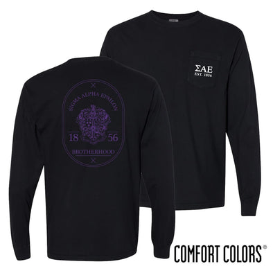 SAE Comfort Colors Black Badge Long Sleeve Pocket Tee